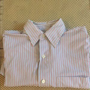 J. Crew Blue and Red/Orange Striped Dress Shirt